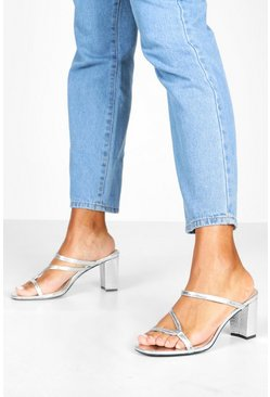 Silver Asymmetric Strappy Low Heel Mules