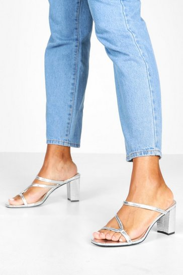 Womens Silver Asymmetric Strappy Low Heel Mules