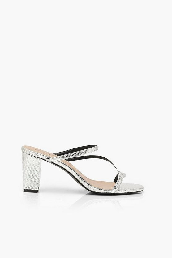 Asymmetric Strappy Low Heel Mules
