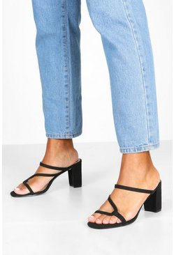 Dam Black Asymmetric Strappy Low Heel Mules