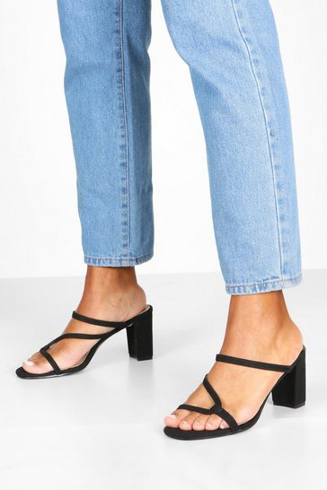 Womens Black Asymmetric Strappy Low Heel Mules