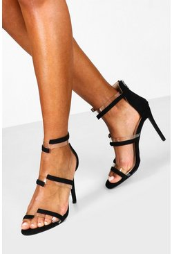 Black Clear Panel 2 Strap Heels