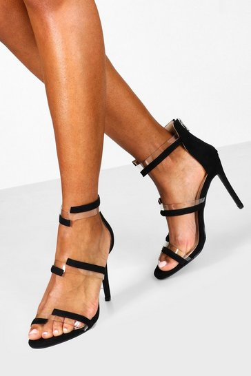 Womens Black Clear Panel 2 Strap Heels