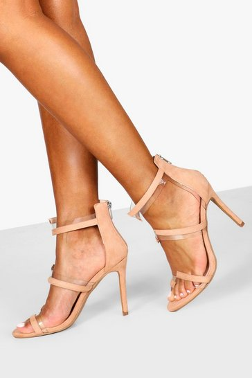 Nude Clear Panel 2 Strap Heels