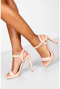Womens Nude Platform 2 Part Heels