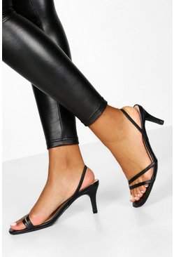 Dam Black Low Heel Slingback Sandals