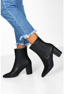 Black Block Heel Pointed Shoe Boots