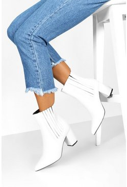Womens White Block Heel Pointed Shoe Boots