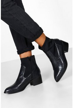 Black Sock Style Chelsea Boots
