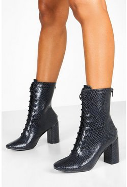 Black Lace Front Block Heel Shoe Boots