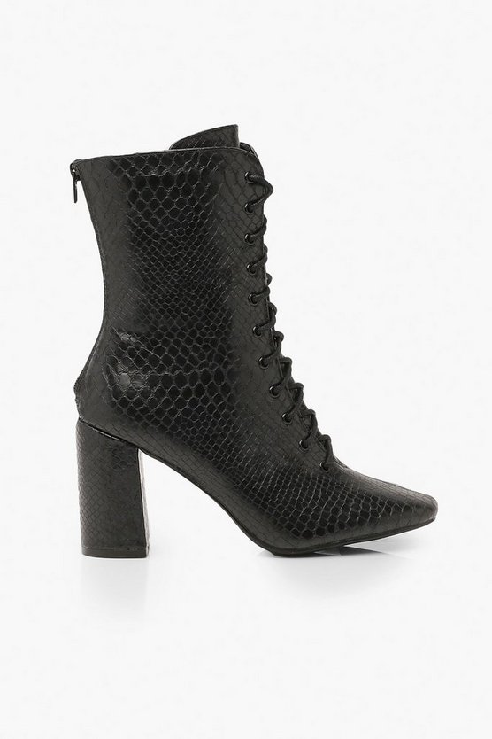 Lace Front Block Heel Shoe Boots