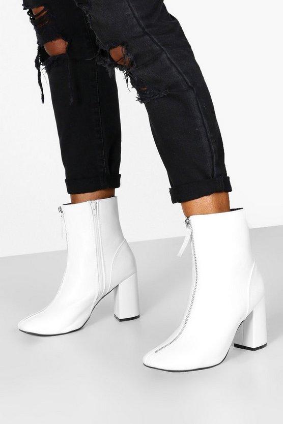 Zip Front Block Heel Shoe Boots