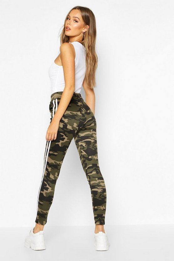 Camo Legging With Contrast Stripe Panelling
