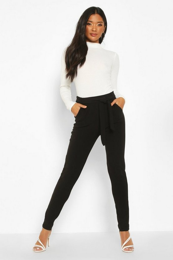 Womens Black Tapered Leg Trouser With Tie Belt And Pocket