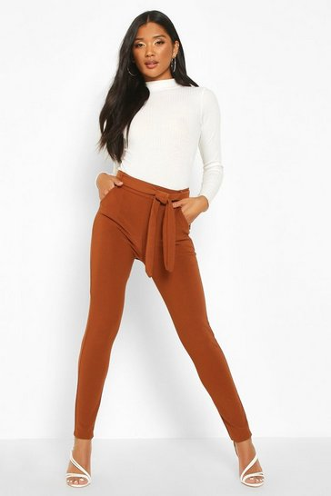 Womens Brown Tapered Leg Trouser With Tie Belt And Pocket
