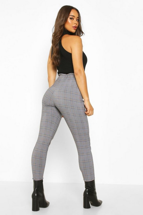 Check Trouser With Paperbag Waist And Pocket