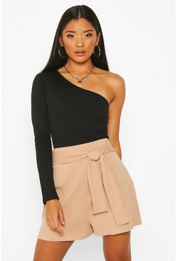 Taupe Soft Ribbed Tie Front Shorts