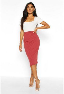 Womens Berry Soft Rib Midi Skirt