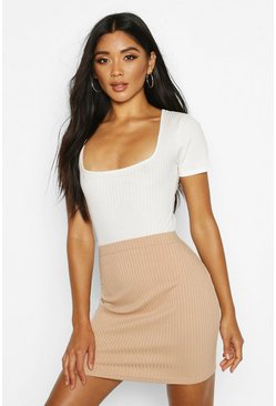Camel Soft Rib Mini Skirt