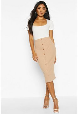 Camel Soft Rib Button Front Midi Skirt
