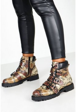 Womens Brown Snake Print Buckle Hiker Boots
