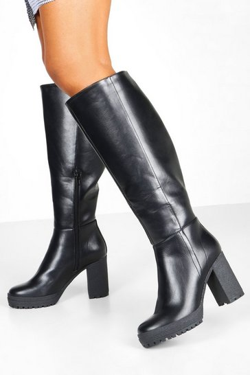 Black Chunky Cleated Over The Knee Boots