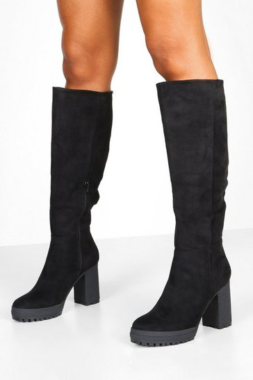 Womens Black Chunky Cleated Over The Knee Boots