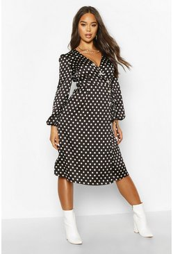 Black Woven Spot Horn Button Wrap Midi Dress