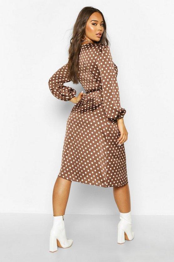 Woven Spot Horn Button Wrap Midi Dress