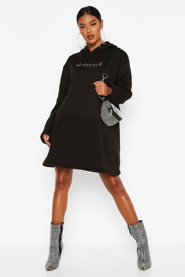 Womens Black Obsessed Diamante Hooded Sweatshirt Dress