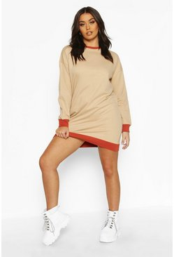 Stone Ringer Contrast Sweatshirt Dress