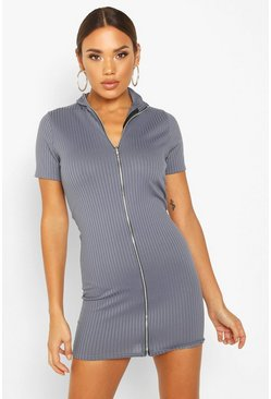 Womens Blue High Neck Rib Zip Mini Dress
