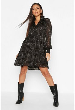Womens Black Polka Dot Stripe V Neck Smock Dress