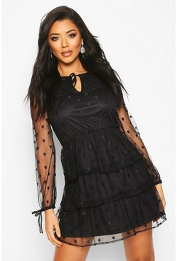 Black Polka Dot Mesh Layered Skater Dress