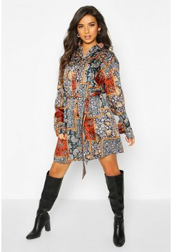 Womens Rust Paisley Chain Print Shirt Dress