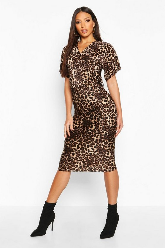 Leopard Plisse Buckle Midi Dress