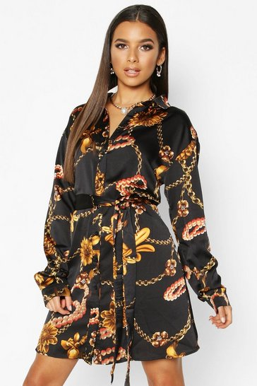 Womens Black Chain Floral Belted Shirt Dress