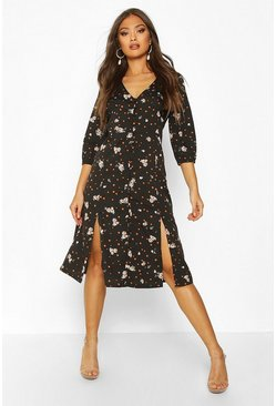 Womens Black Button Front Floral Print Midi Dress
