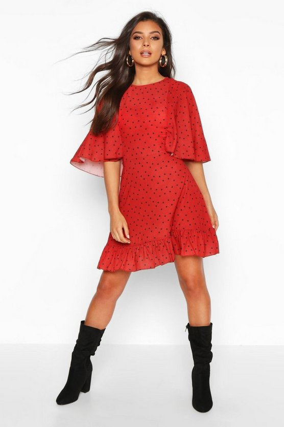 Polka Dot Flute Sleeved Skater Dress