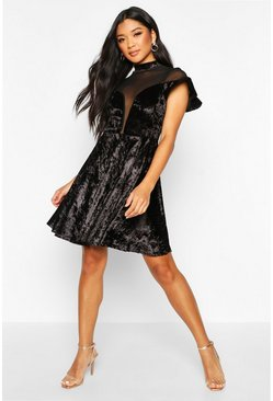 Dam Black Crushed Velvet Mesh Inster Skater Dress