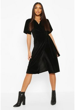 Womens Black Velvet Wrap Tie Midi Skater Dress