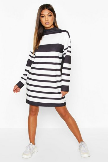 Womens Black Funnel Neck Stripe Sweatshirt Dress