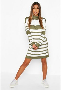 Womens Khaki Funnel Neck Stripe Sweatshirt Dress