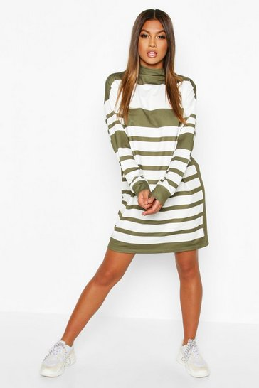Khaki Funnel Neck Stripe Sweatshirt Dress