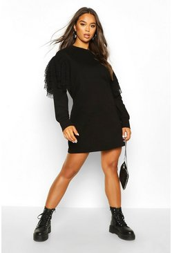 Womens Black Dobby Detail Sweatshirt Dress