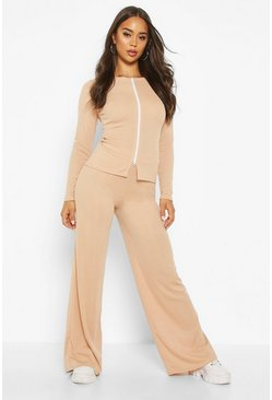 Double Zip Front Rib Top & Wide Belt Trouser Co-ord, Stone