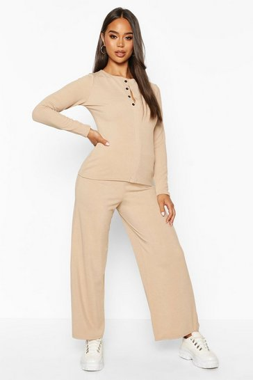 Stone Button Down Rib Top + Ankle Grazer Trouser Co-Ords