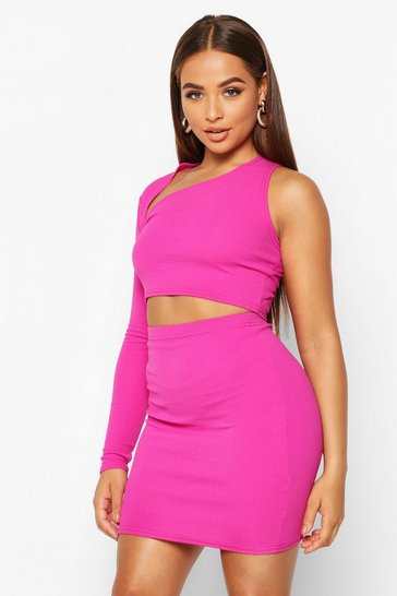 Womens Hot pink Asymetric One Shoulder Top And Mini Skirt Co-ord