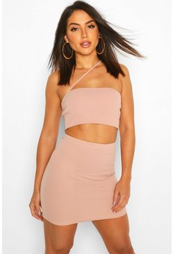 Womens Stone Strap Over Bralet & Mini Skirt Co-Ord