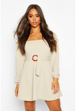 Dam Stone Square Neck O-Ring Buckle Skater Dress
